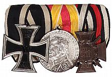 German medal bar, 3.8'' l., Iron Cross 1914 2nd class; Baden Karl Friedrich Medal for Military Merit; Hindenburg Cross, good condition