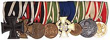 German medal bar, 8.0'' l., Iron Cross 1914 2nd class; Hindenburg Cross; War Merit Cross; Saxony Service Medal; Long Service Medal 40 Year; Saxony, Military Reserve Medal, 2nd class; WWI Service in Hungary Medal; Bulgaria WWI Service Medal, good
