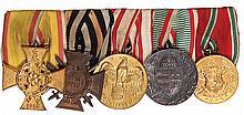 German medal bar, 6.0'' l., 1914-1918 Lippe War Merit Cross, Second Class; Hindenburg Cross; Austria WWI Service Medal; WWI Service in Hungary Medal; Bulgaria WWI Service Medal, good condition