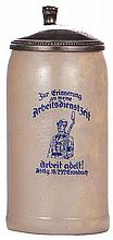 Third Reich stein, 1.0L, stoneware, Arbeitdienstzeit, Abtlg. 10/292 Grasbach, pewter lid, pewter strap repaired - excellent, body mint