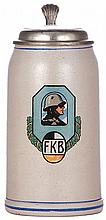 Military stein, 1.0L, stoneware, F.K.B. [Freicorps Bayern], pewter lid, pewter strap repaired - excellent, body mint