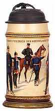 Mettlach stein, .5L, 895[2140], PUG, Infanterie Regt. Nr. 15, pewter lid, small pewter dent, .5'' hairline