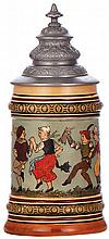 Pottery stein, .5L, etched, marked H.R., 154, by Hauber & Reuther, pewter lid, pewter tear repaired - good