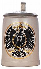 Military stein, .5L, stoneware, eagle, pewter lid, mint