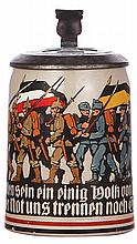 Military stein, .5L, stoneware, German & Austrian soldiers, pewter lid with relief Iron Cross, mint