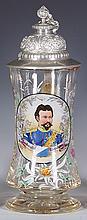 Glass stein, .5L, blown, Ludwig II König v. Bayern, 1845 - 1886, pewter lid, mint
