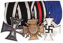 German medal bar, 4.2'' l., Iron Cross 1914 2nd class; Hindenburg Cross; 25 Year Faithful Service, Civil, good condition