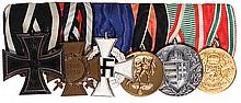 German medal bar, 6.4'' l., Iron Cross 1914 2nd class; Hindenburg Cross; 25 Year Faithful Service, Civil; Sudetenland Annexation Medal; WWI Service in Hungary Medal; Bulgaria WWI Service Medal, good condition