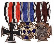 German medal bar, 4.2'' l., Iron Cross 1939 2nd class; NSDAP 15 Year Service; NSDAP 10 Year Service, good condition