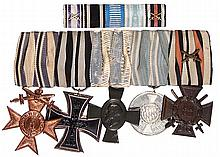 German medal bar, 6.2'' l., with ribbon bar, Bavarian Cross of Military Merit 3rd class; Iron Cross 1914 2nd class; King Ludwig Cross; Bavarian Military Service 9 years 3rd class; Hindenburg Cross, good condition