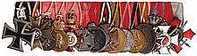 German medal bar, 9.8'' l., Iron Cross 1914 2nd class, with 1939 Eagle; War Merit Cross 1939, 2nd class; Austria Medal for Military Merit, silver; Austria Medal for Military Merit, bronze; Austrian Gold Cross of Merit, with Crown; Austria