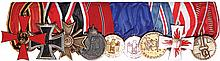 German medal bar, 10.2'' l., West German Cross of Merit; Iron Cross 1939 2nd class; War Merit Cross 1939, 2nd class; German East Medal WWII; Army 12 Year Long Service; Army 4 Year Long Service; Flood Service Medal, February 1962; Fire Service Medal;