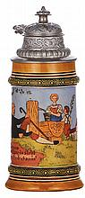Pottery stein, .25L, etched, marked H.R., 502, by Hauber & Reuther, pewter lid, mint