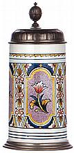 Mettlach stein, 1.0L, 5019, Faience, pewter lid, pewter tear repaired - very good, otherwise mint