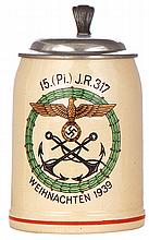 Third Reich stein, .5L, pottery, 15. [Pi.] I.R. 317, 1939, pewter lid, pewter strap repaired, body mint