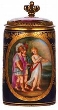 Porcelain stein, .25L, handpainted, marked with beehive, Royal Vienna type, porcelain inlaid lid with scenes inside & outside, mint