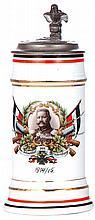 Porcelain stein, .5L, transfer & enameled, v. Hindenburg, 1914 - 1915, relief pewter lid: v. Hindenburg, pewter strap repaired - excellent, body mint