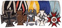 German medal bar, 6.4'' l., Iron Cross 1914 2nd class; Hindenburg Cross; Silesian Eagle 2nd class; 25 Year Faithful Service, Civil; Bulgaria Military Order of Bravery, good condition