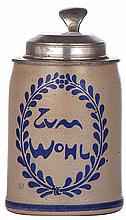 Stoneware stein, .5L, transfer, signed F. Ringer, Zum Wohl, pewter lid, very minor pewter tear, body mint
