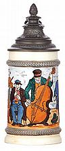 Porcelain stein, .5L, etched, marked H.R., 198, by Hauber & Reuther, pewter lid, pewter tear, otherwise mint
