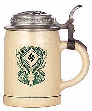 Pottery stein, .5L, transfer, swastika & Jäger symbol, relief pewter lid: 1939 Schützenkönig, pewter strap repaired - excellent, body mint
