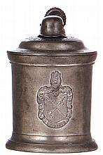 Third Reich stein, .5L, pewter, I.R. 42, Bayreuth, 1935 - 1937, owner's name, pewter lid, a little wear