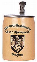 Third Reich stein, .5L, pottery, Infanterie Regiment 19, 4. [E.M.G.] Kompanie, Freising, pewter lid, pewter strap repaired, body mint