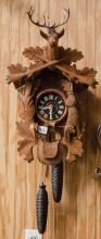 Deer head carved German Cuckoo clock working