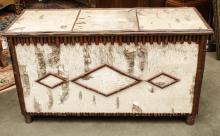 White Birch decorated blanket box