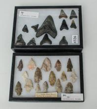 Shadow box with 16 arrowheads and shadow box of