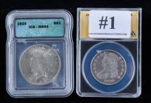 1830o bust 50 cent piece & 1925 Peace silver