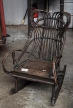 Old surface child's twig rocker