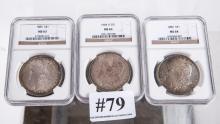 Three Morgan silver dollars-1886 NGC MS64,