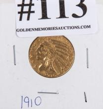 1910 Indian $5 2 ½ ounce gold piece