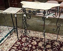 Two marble & metal tables