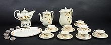 Rare jewel t teapot & candleholder, platter, 8