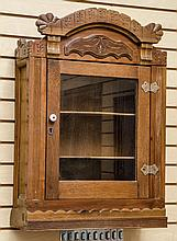 Eastlake oak hanging cupboard for shaving cups -