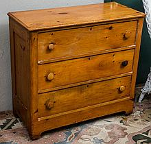 Pine three drawer chest- approx 36