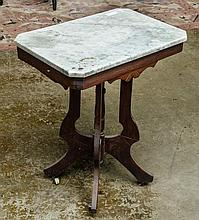 Marble top walnut side table