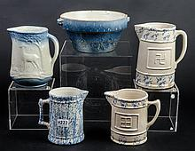Assortment of 5 salt glaze pieces with some