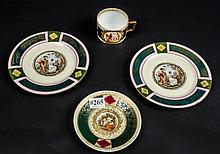 Four pieces of hand painted German- cup & 3