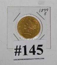1899s $10 gold piece-not graded (unc)