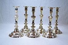 French Antique Sterling Silver Candlesticks (Set of 6)