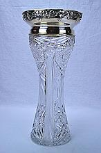 Gorham Sterling Silver Mounted Cut Glass Vase 1891