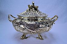 German Coin Silver Seafood Tureen