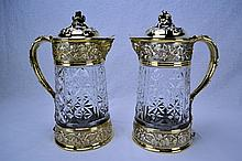 Odiot Sterling & Gilt Mounted Crystal Wine Jugs (Pair)