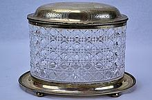J.E.W & J. Barnard English Sterling Cut Glass Box