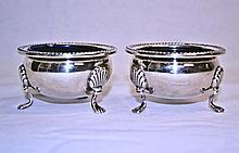 Sterling Silver Cobalt Glass Lined Salt Cellars (Pair)