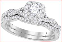 14KW 0.68CTW DIAMOND 0.25CT CENTER ROUND BRIDAL SET