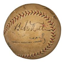 Babe Ruth Game Used Home Run Ball- HR #519 May 4,1930. Signed by Ruth and Gehrig! (MEARS and JSA LOAs)
